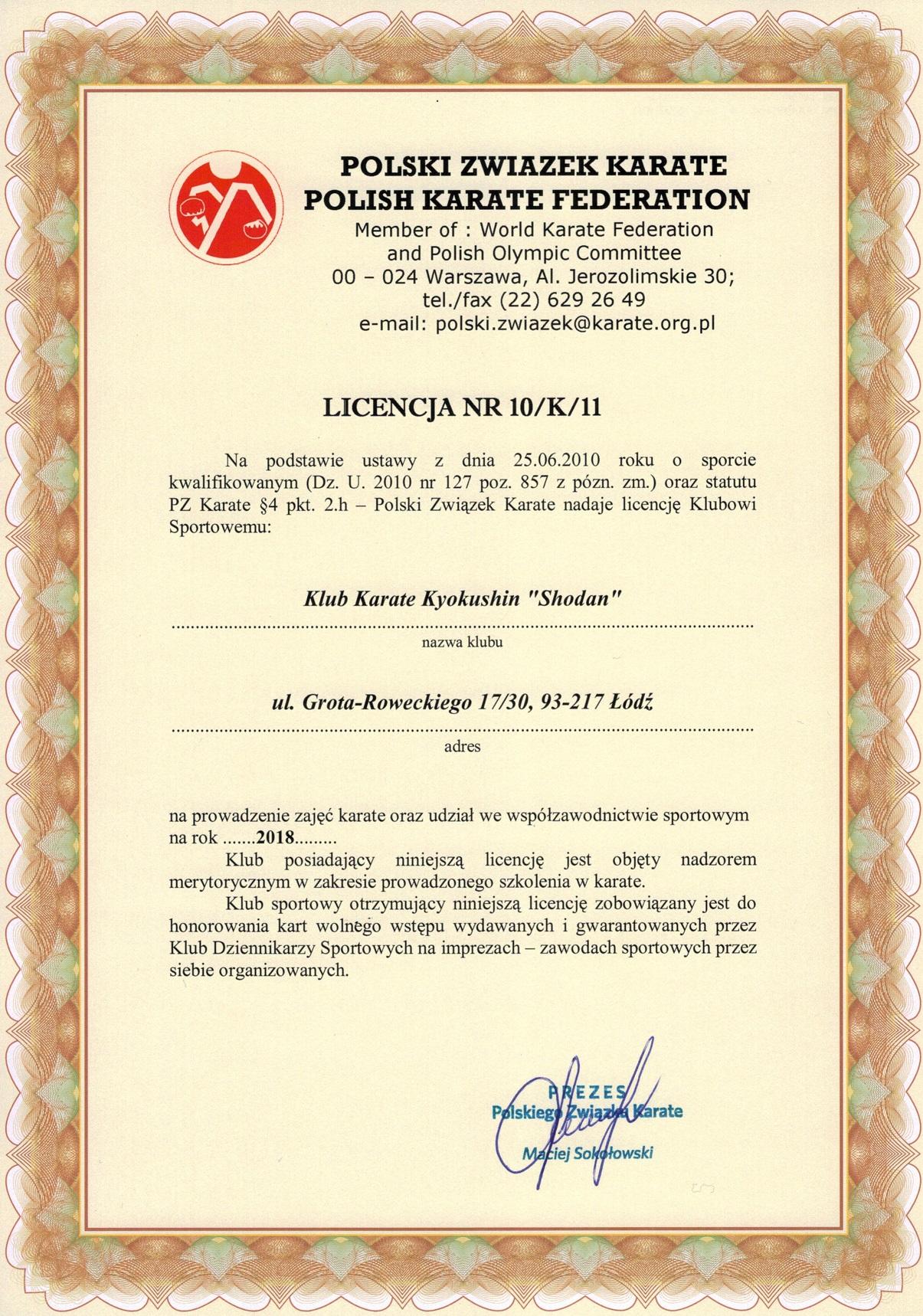 Licencja Polskiego Związku Karate